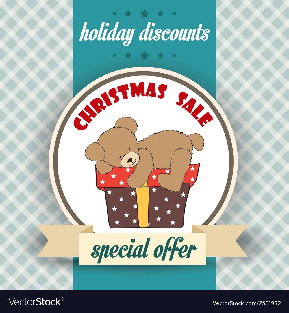 Christmas sale design with teddy bear vector | Price: 1 Credit (USD $1)