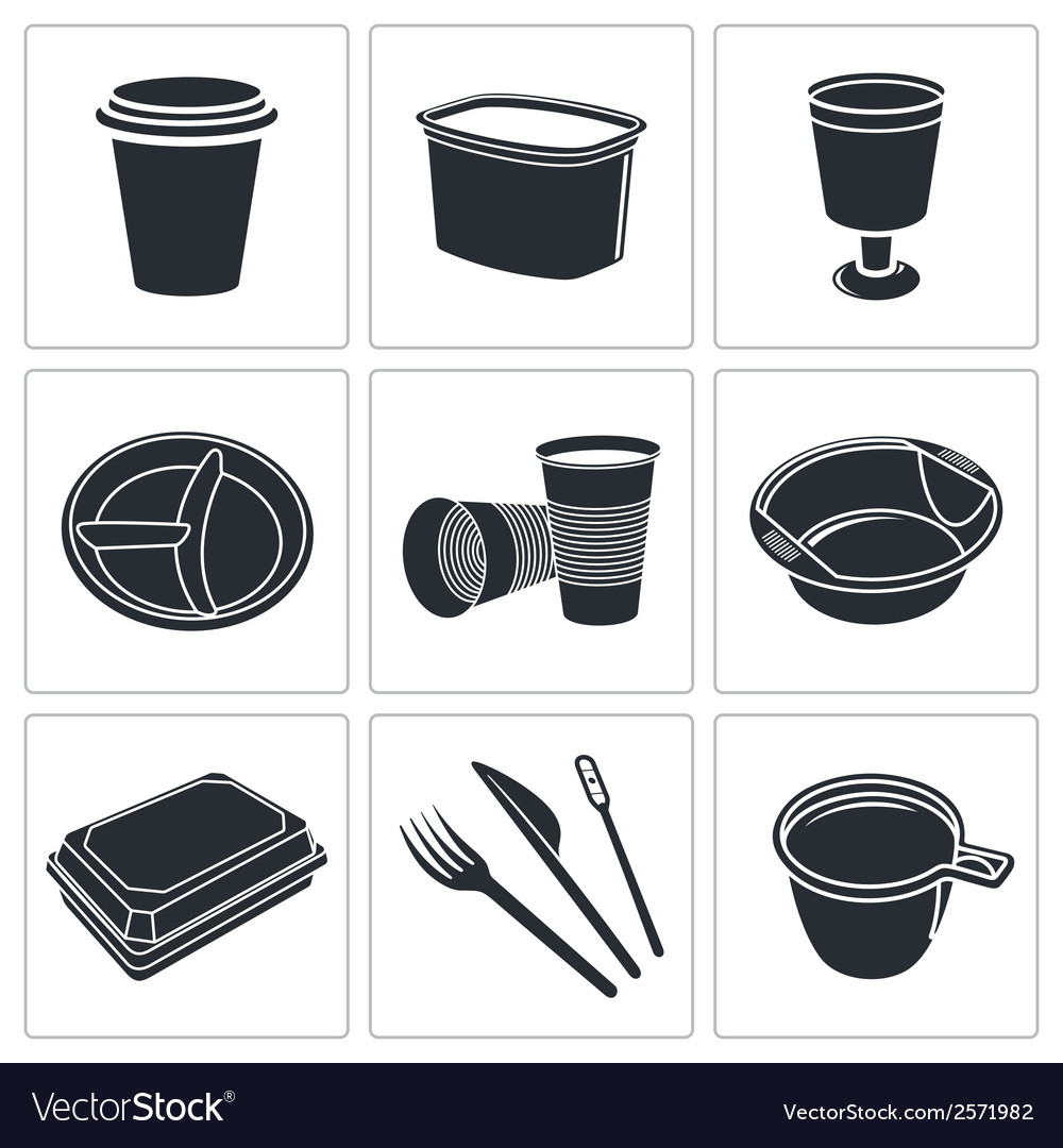 Disposable tableware icon collection vector | Price: 1 Credit (USD $1)