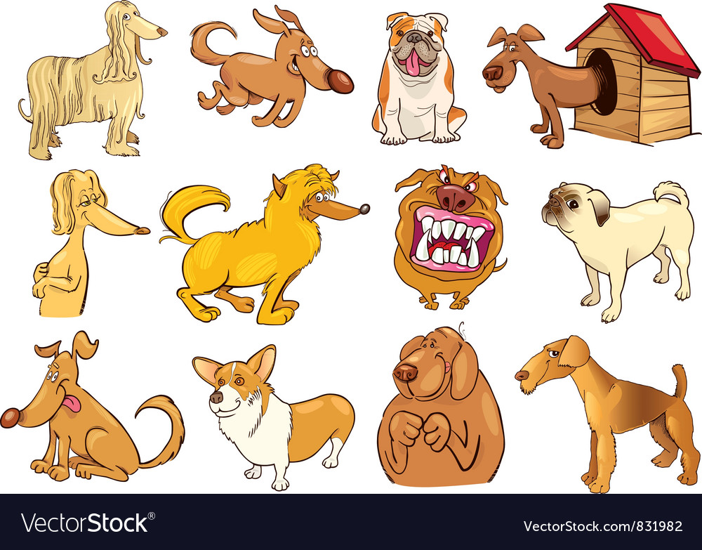Funny dogs set vector | Price: 5 Credit (USD $5)