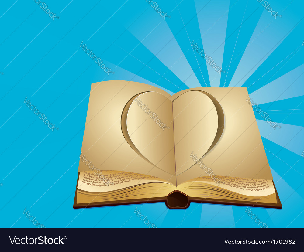 Heart cut out of book vector | Price: 1 Credit (USD $1)