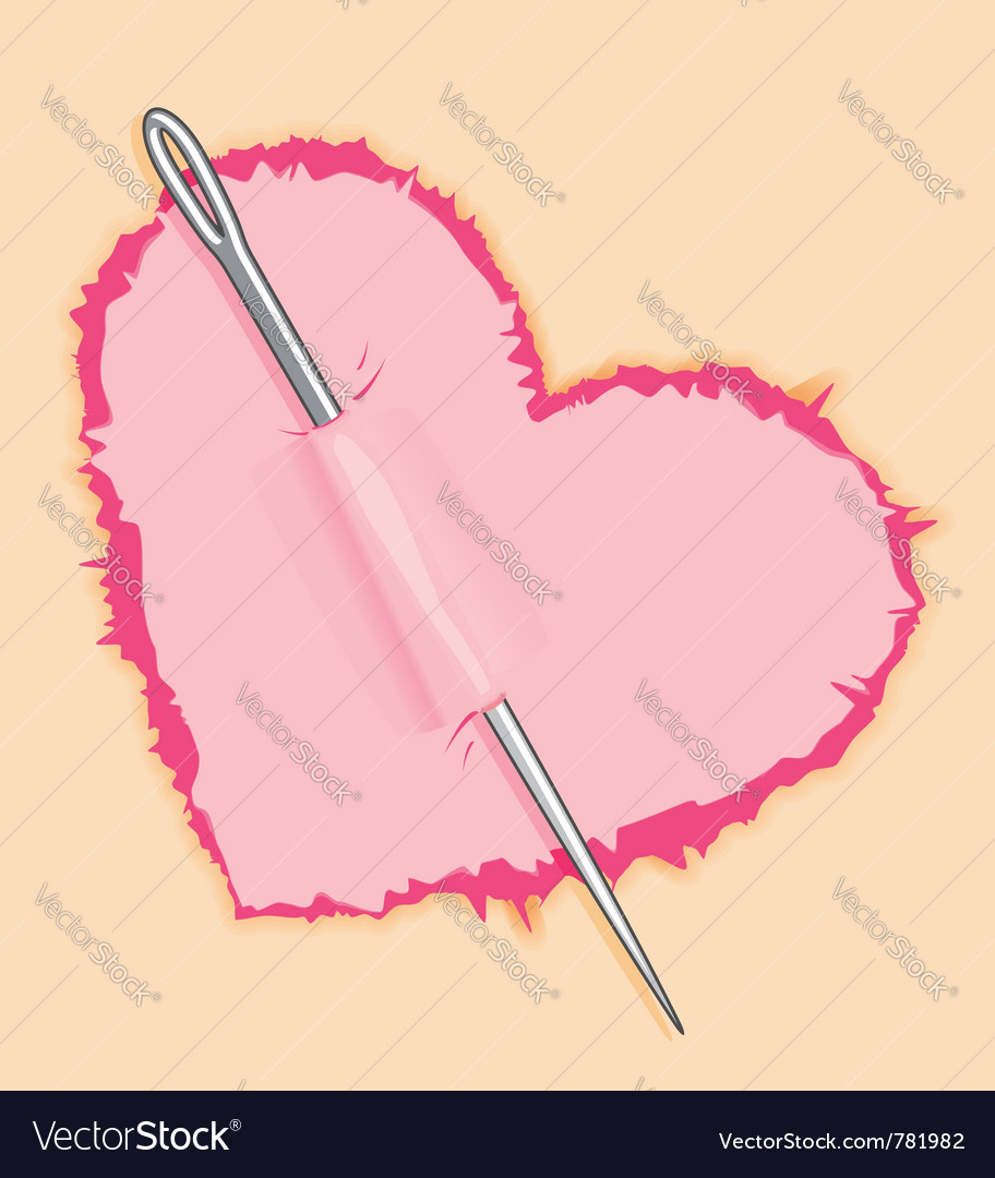 Needle in pink heart vector | Price: 1 Credit (USD $1)