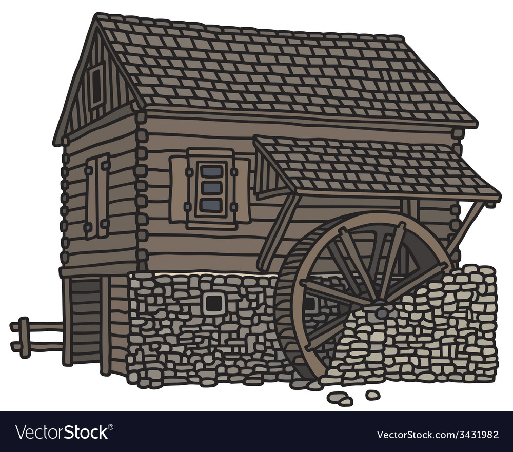 Old wooden watermill vector | Price: 1 Credit (USD $1)