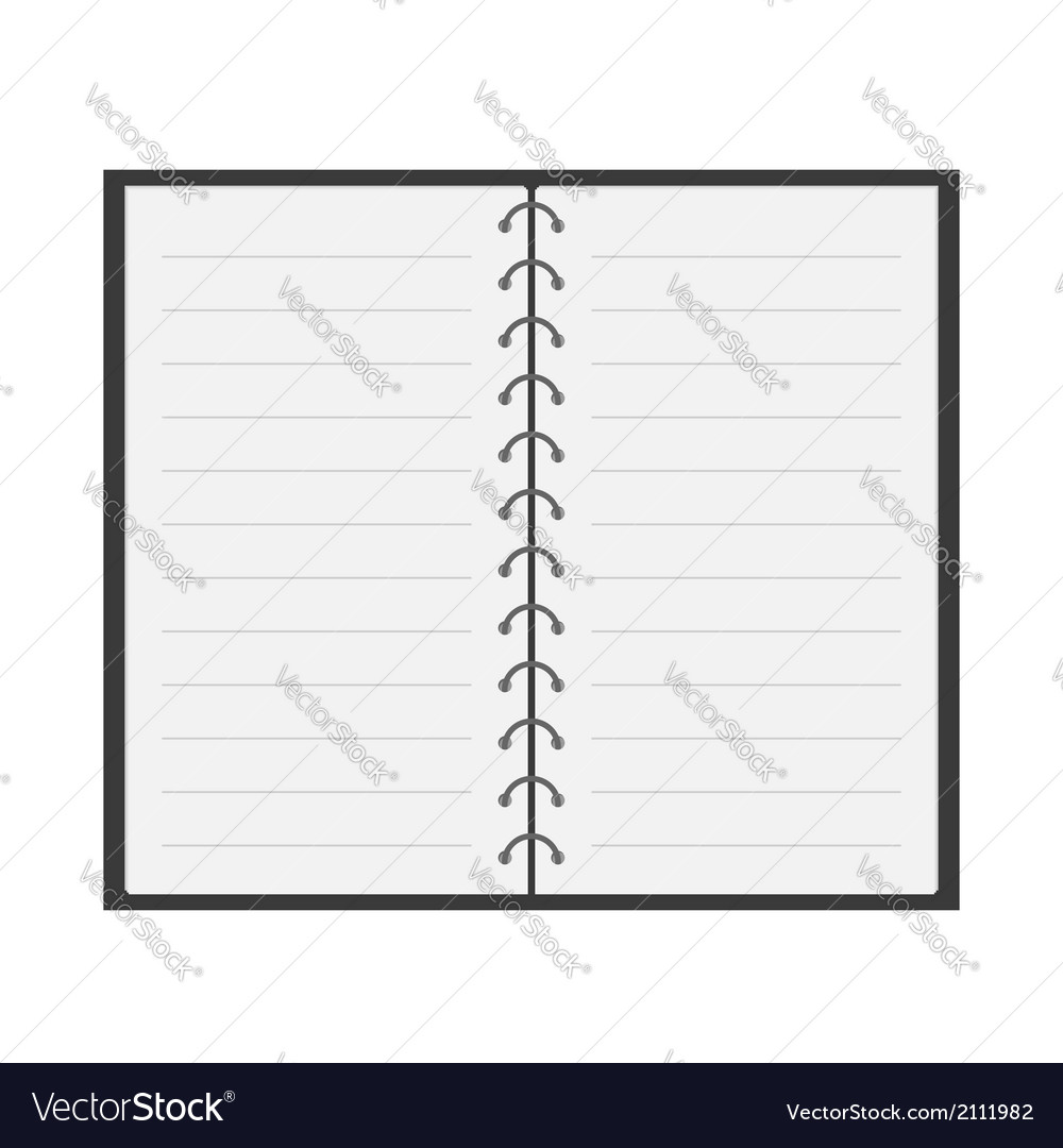 Open notebook with spiral and blank lined paper vector | Price: 1 Credit (USD $1)