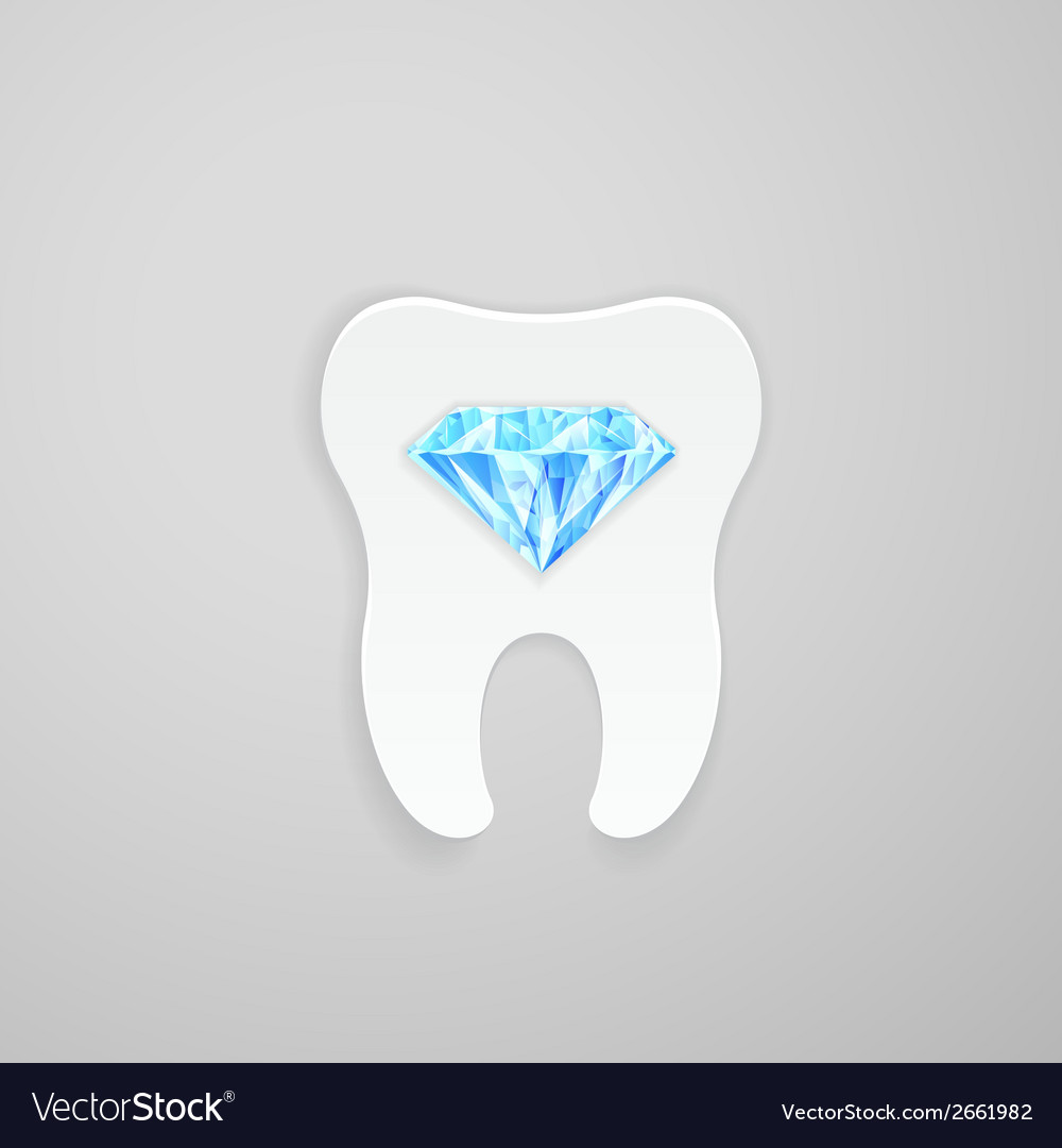 Tooth with blue diamond vector | Price: 1 Credit (USD $1)