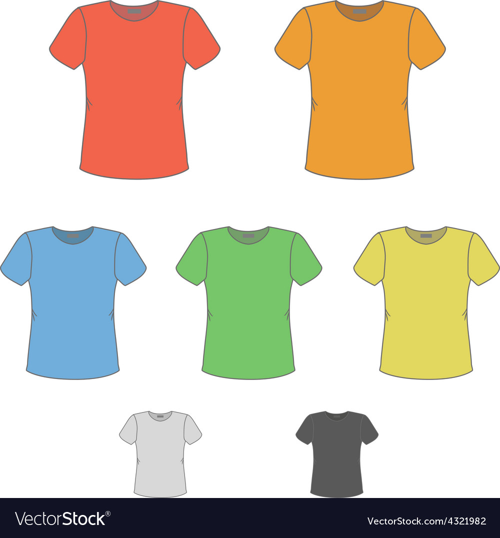 T-shirt design templates in various colors vector | Price: 1 Credit (USD $1)
