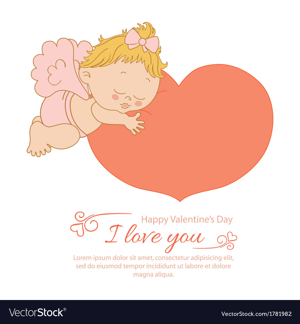 Valentines day with an angel greeting card vector | Price: 1 Credit (USD $1)