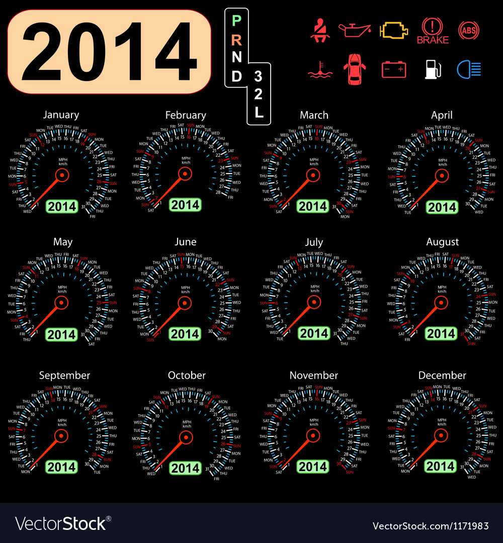 2014 year calendar speedometer car vector