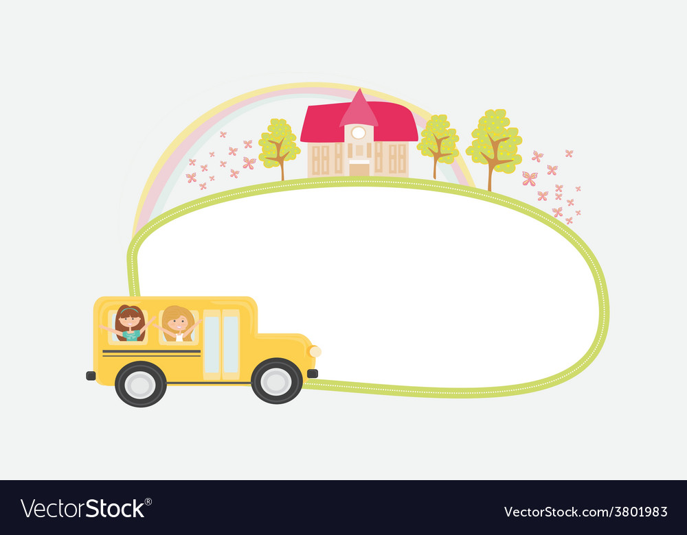 A school bus heading to school with happy children vector | Price: 1 Credit (USD $1)