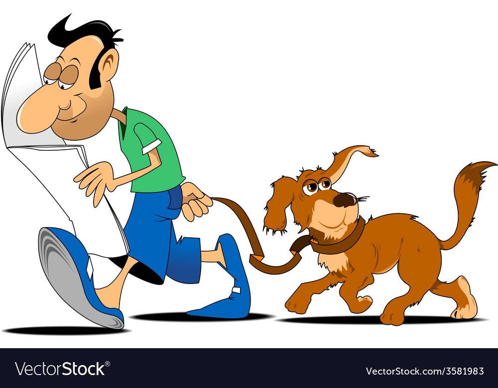 Cartoon man walking dog vector | Price: 1 Credit (USD $1)