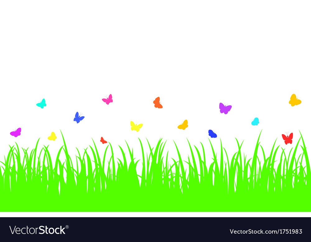 Colored butterfly on a seamless grass vector | Price: 1 Credit (USD $1)
