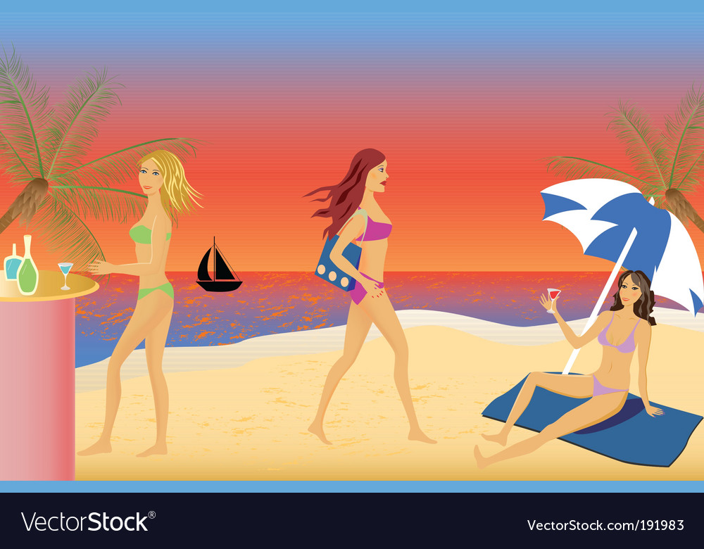 Girls beach party vector | Price: 1 Credit (USD $1)