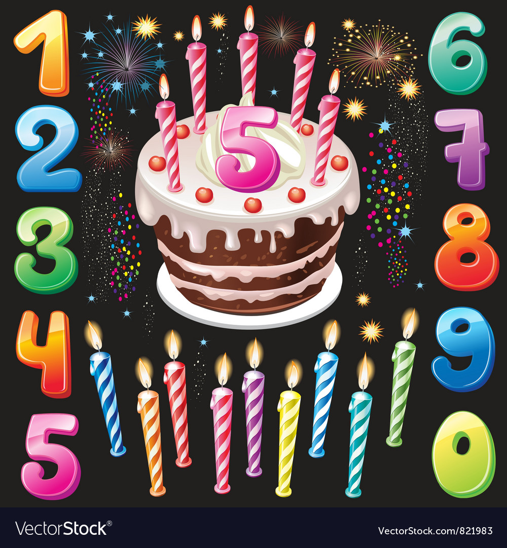 Happy birthday cake numbers and firework vector | Price: 3 Credit (USD $3)