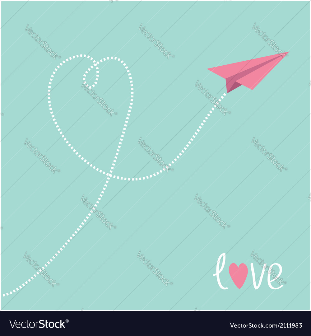 Origami pink paper plane dash heart in the sky vector | Price: 1 Credit (USD $1)