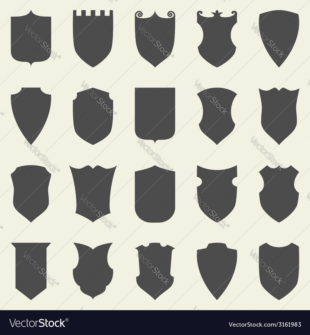 Set of blank empty dark shields shield badge vector | Price: 1 Credit (USD $1)