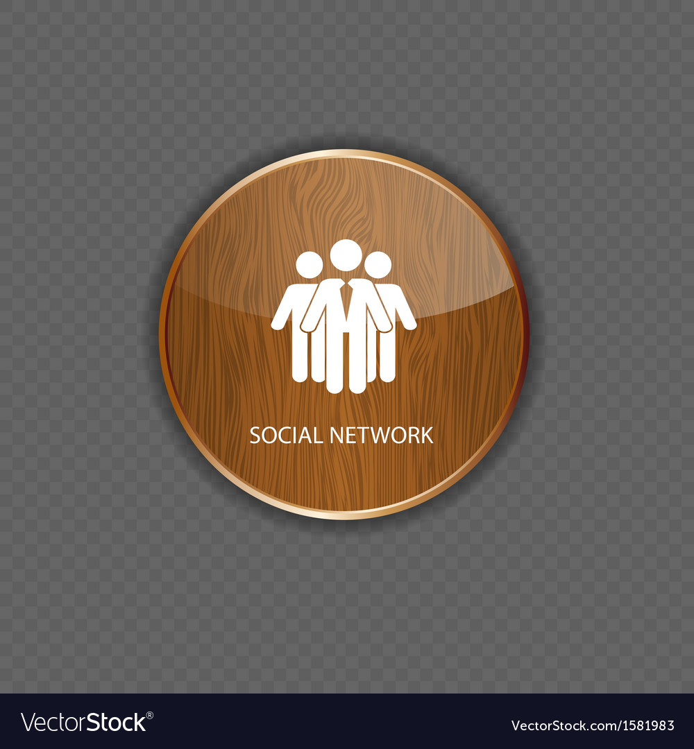 Social network wood application icons vector | Price: 1 Credit (USD $1)