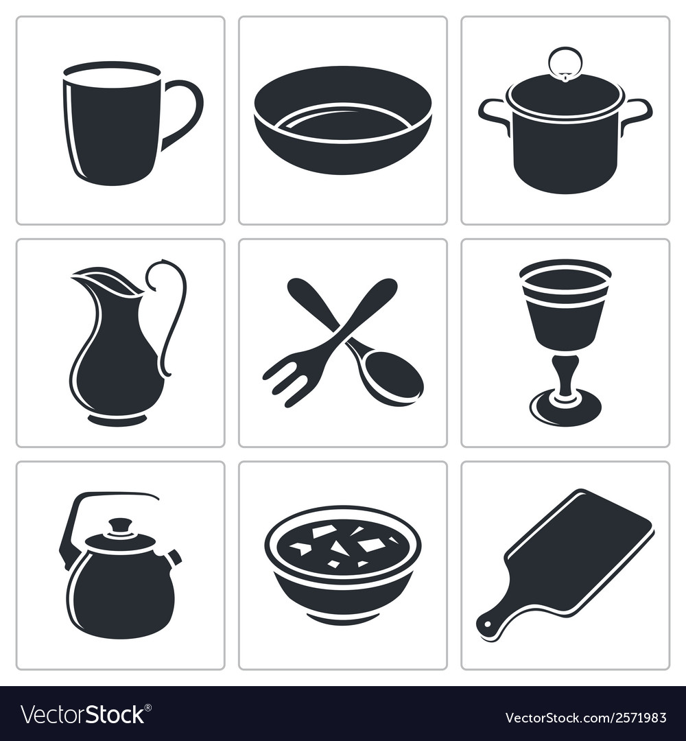 Tableware icon collection vector | Price: 1 Credit (USD $1)
