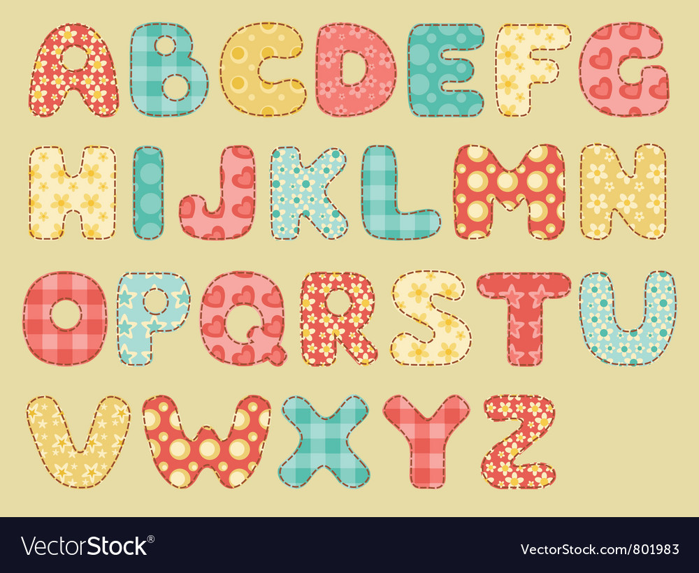 Vintage quilt alphabet vector | Price: 1 Credit (USD $1)
