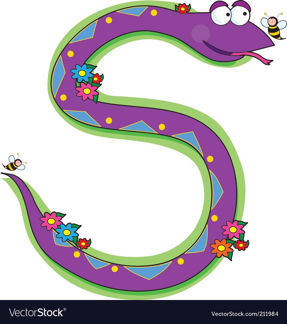 Animal alphabet snake vector | Price: 1 Credit (USD $1)