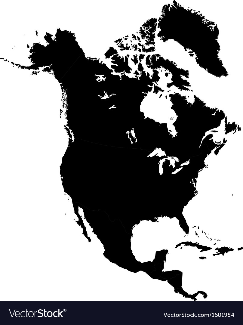 Black north america map vector | Price: 1 Credit (USD $1)