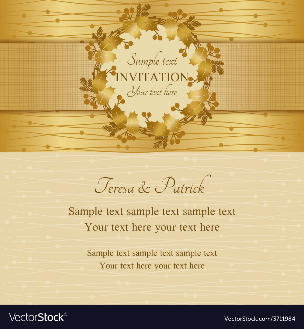 Christmas invitation gold and beige vector | Price: 1 Credit (USD $1)