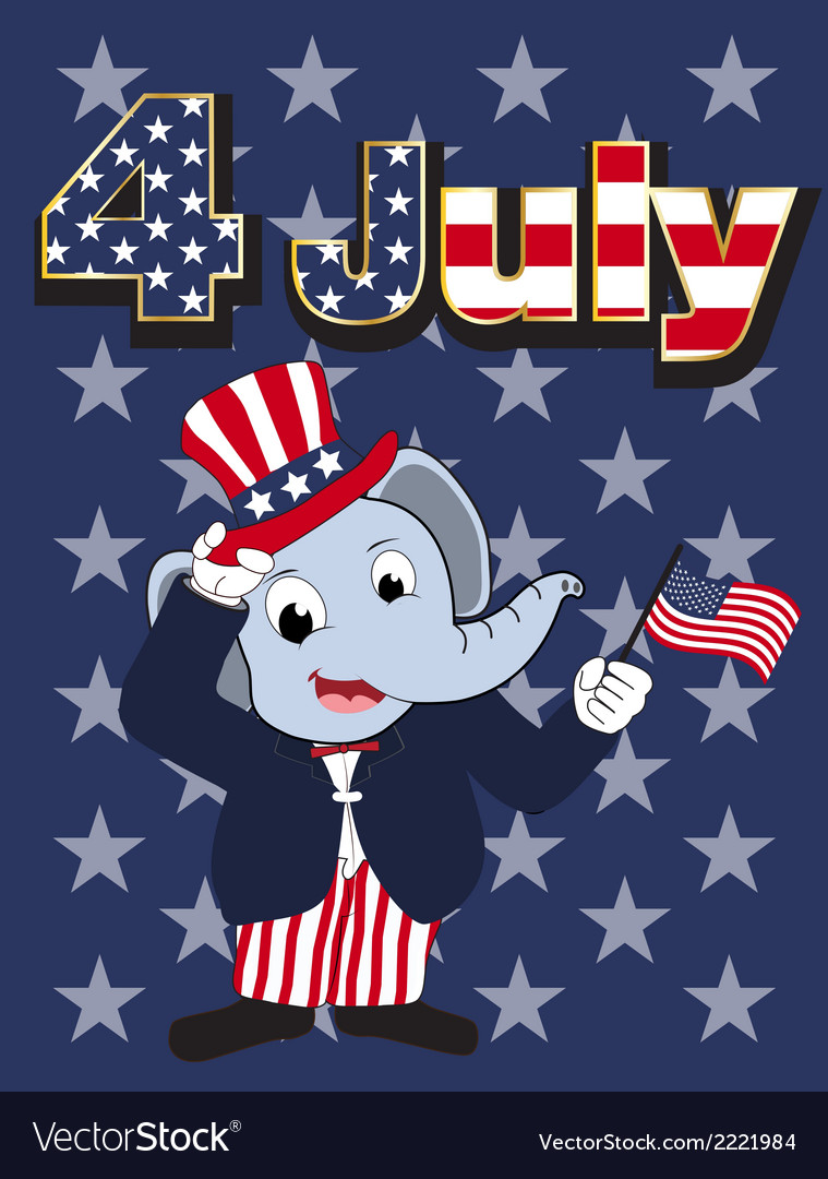 Elephant head man cartoon cheerful in 4 july vector | Price: 1 Credit (USD $1)