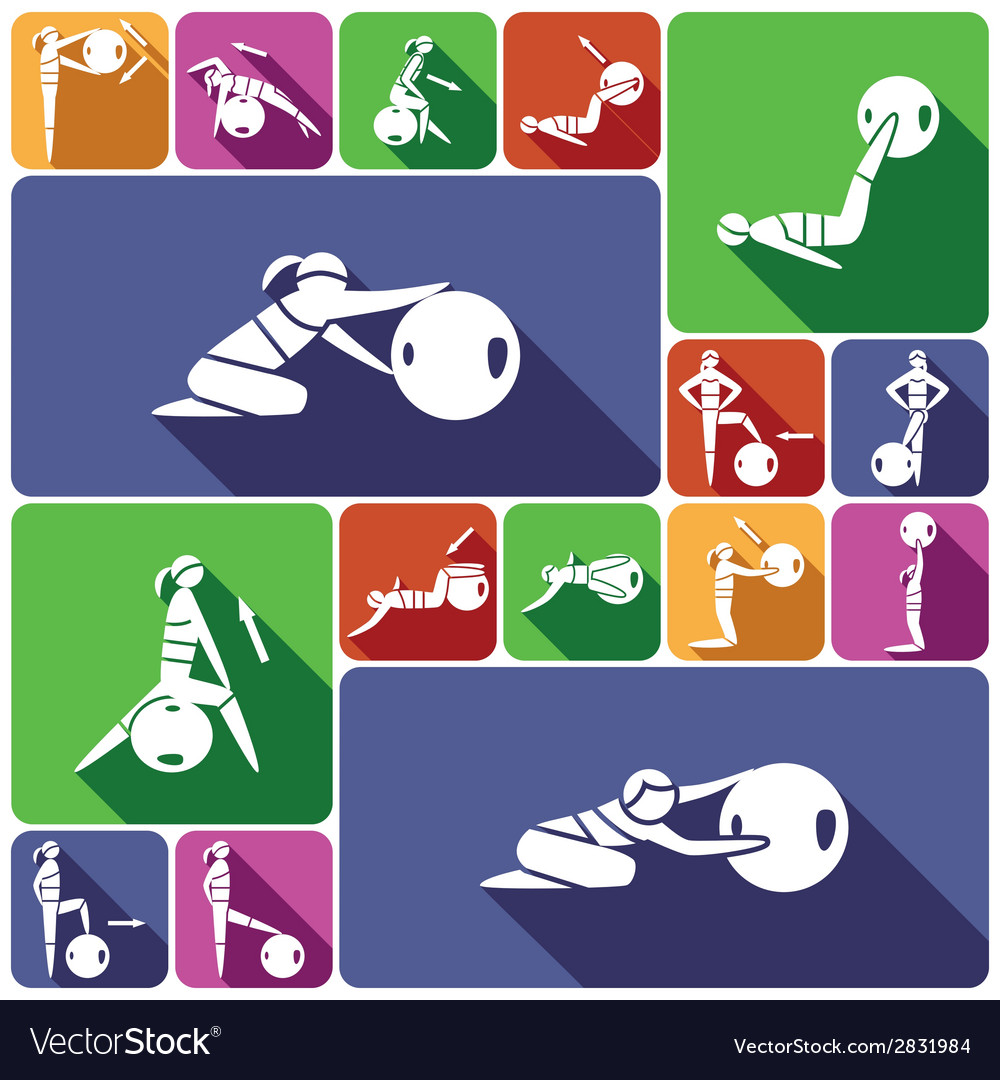 Fitness ball icons set flat vector | Price: 1 Credit (USD $1)