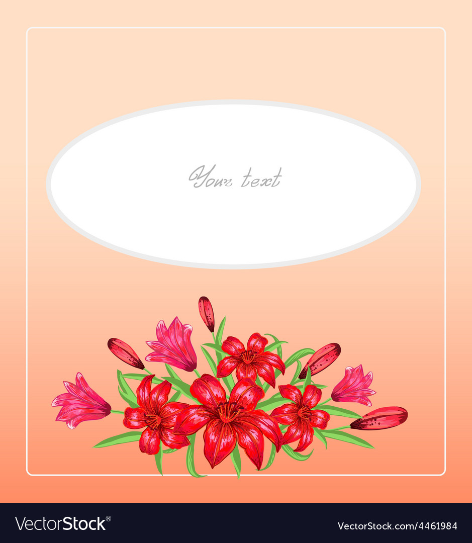 Greeting card with lilies vector | Price: 1 Credit (USD $1)