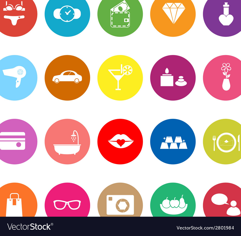 Lady related item flat icons on white background vector | Price: 1 Credit (USD $1)