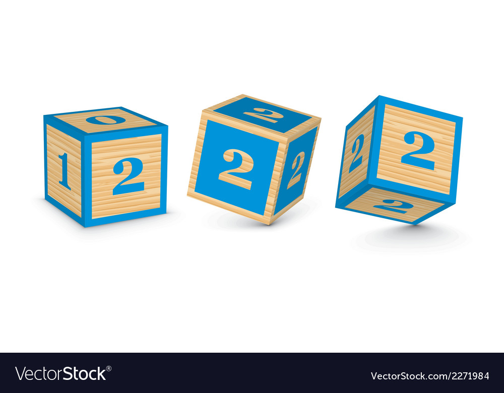 Number 2 wooden alphabet blocks vector | Price: 1 Credit (USD $1)