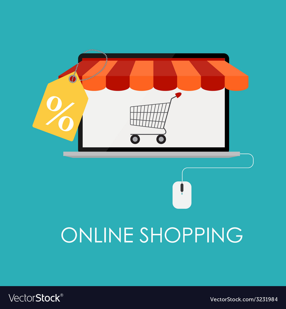 Online shopping flat concept for mobile apps vector | Price: 1 Credit (USD $1)