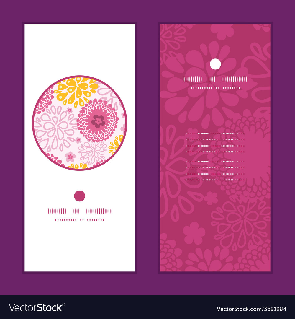 Pink field flowers vertical round frame pattern vector | Price: 1 Credit (USD $1)