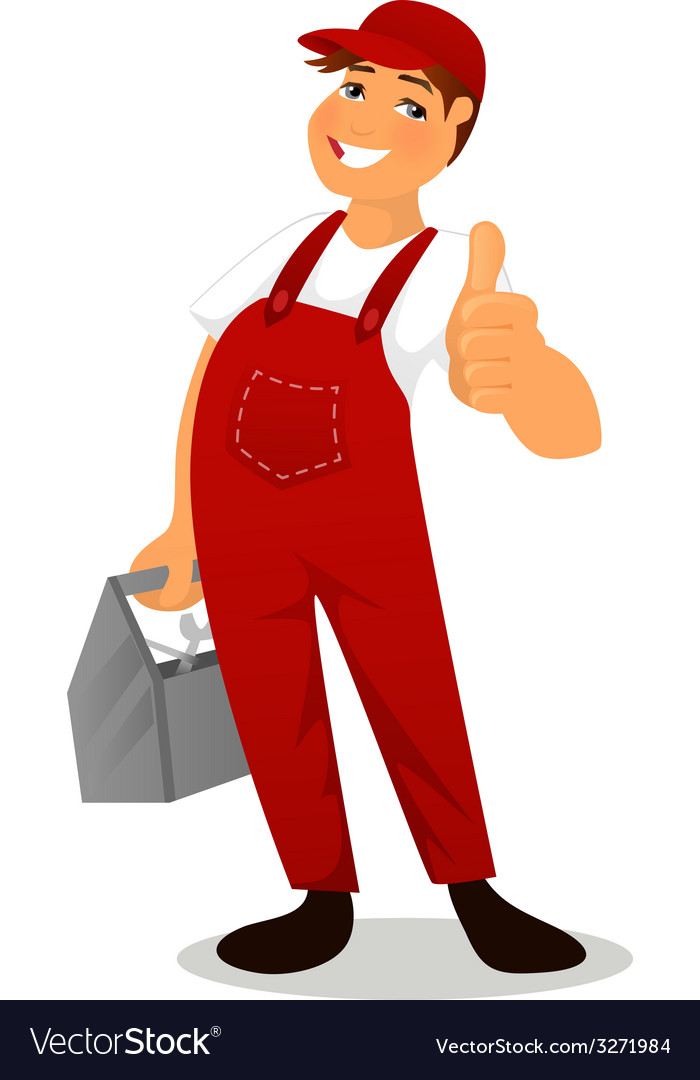 Plumber in red overall vector | Price: 1 Credit (USD $1)