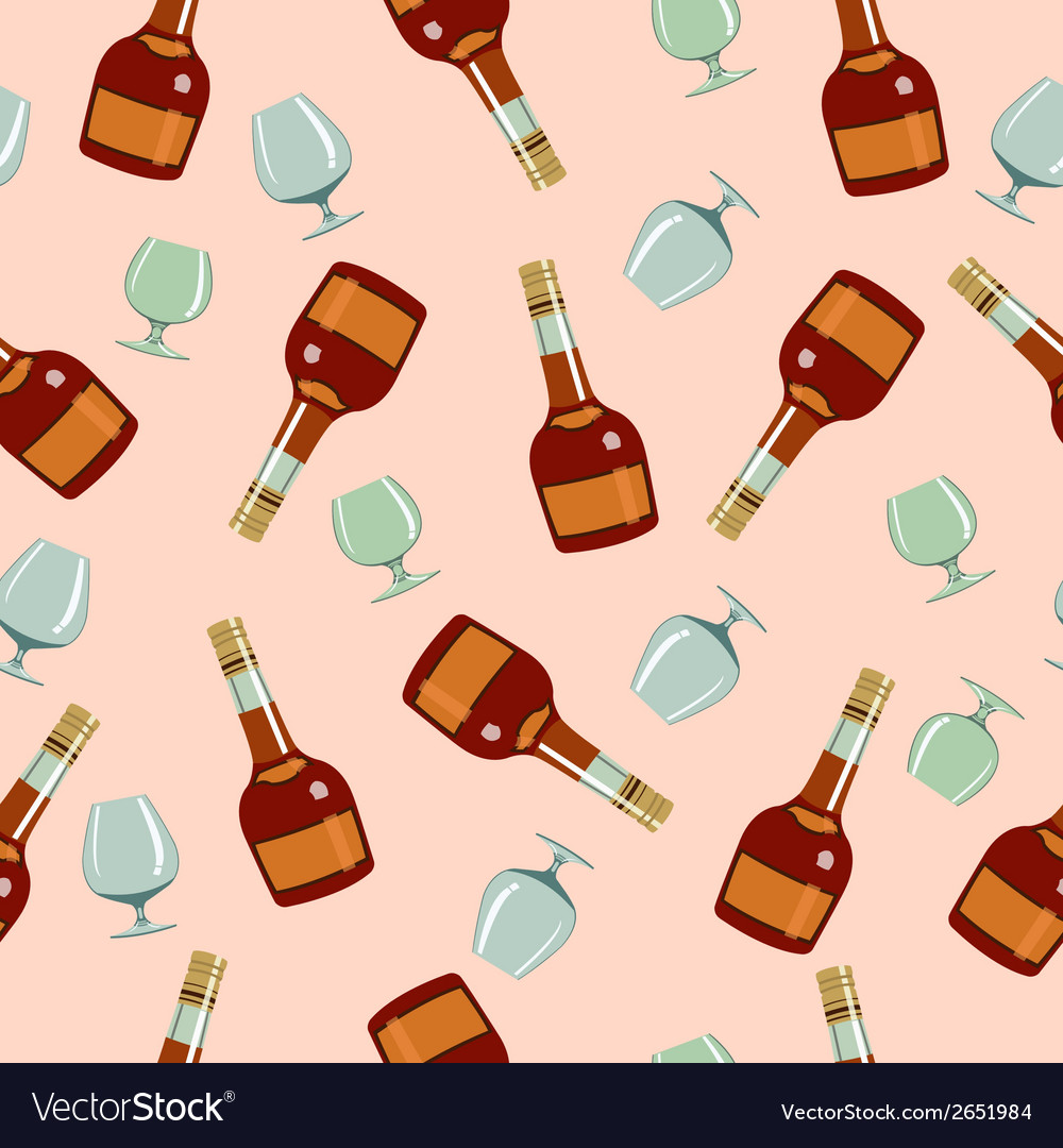 Seamless pattern bottles and glasses vector | Price: 1 Credit (USD $1)
