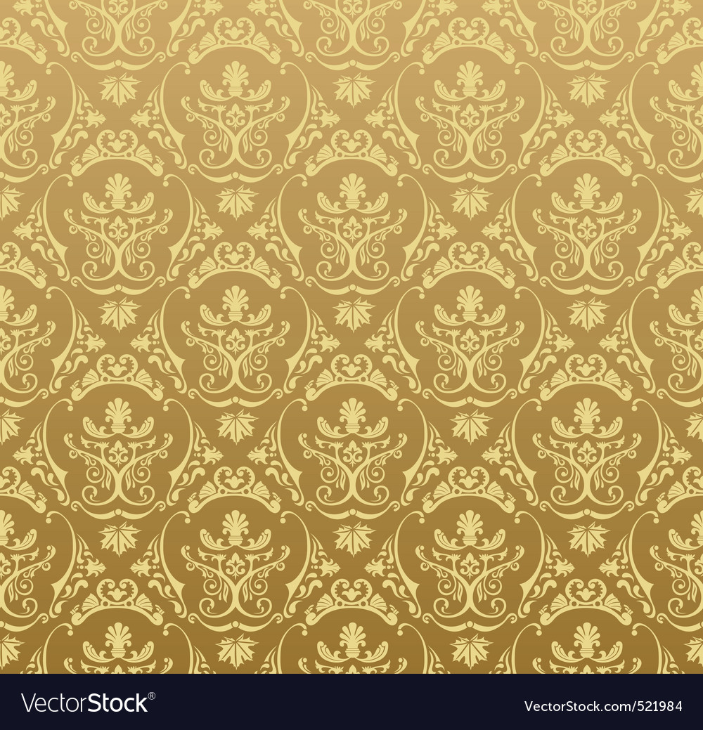 Seamless wallpaper background floral vintage gold vector | Price: 1 Credit (USD $1)