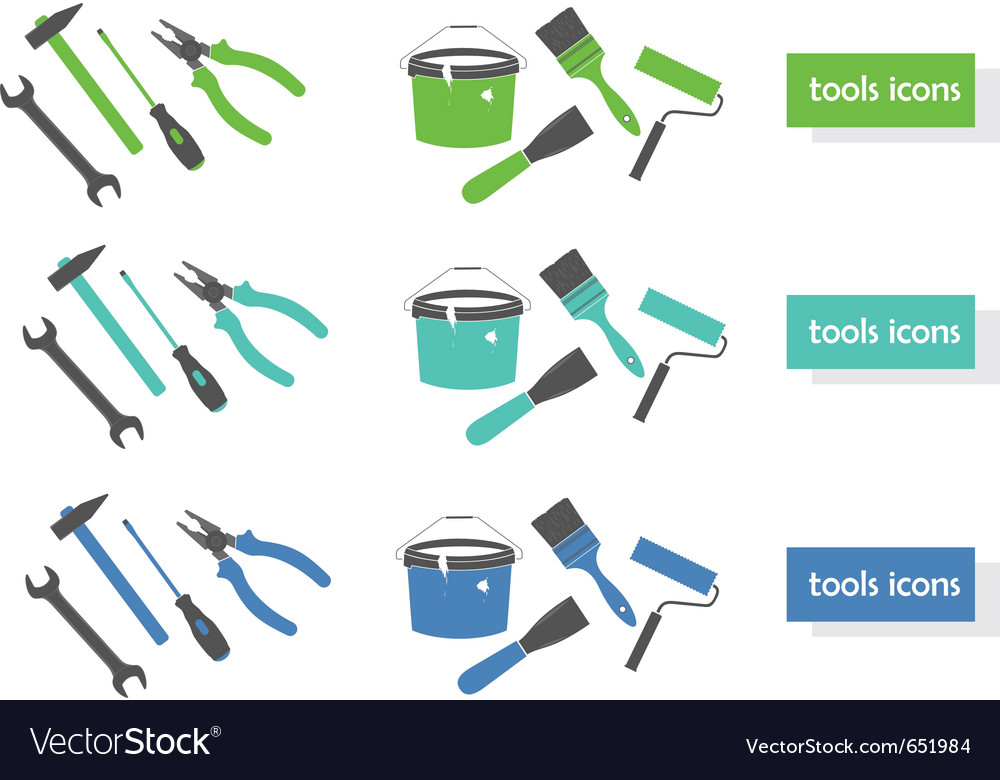 Set of tools icons three colors vector | Price: 1 Credit (USD $1)