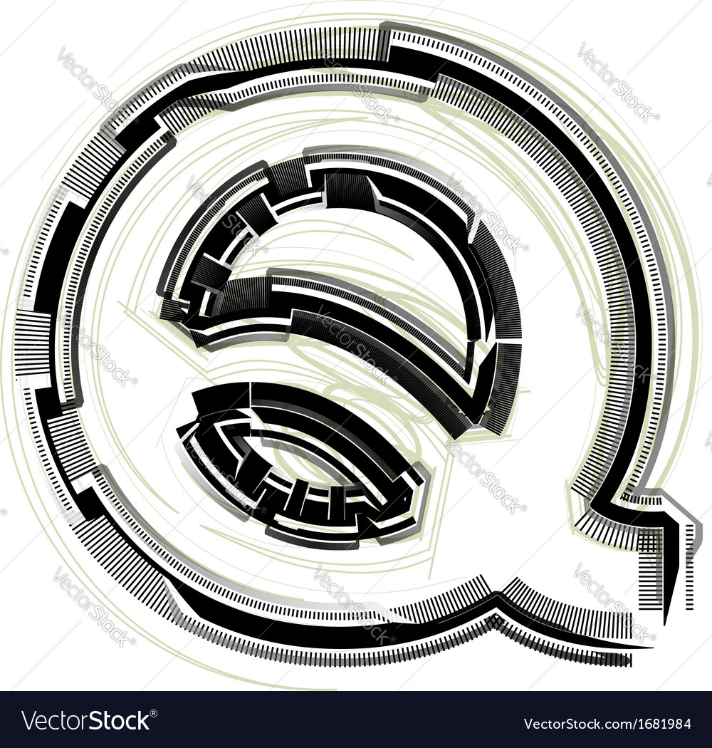 Technological font letter q vector | Price: 1 Credit (USD $1)