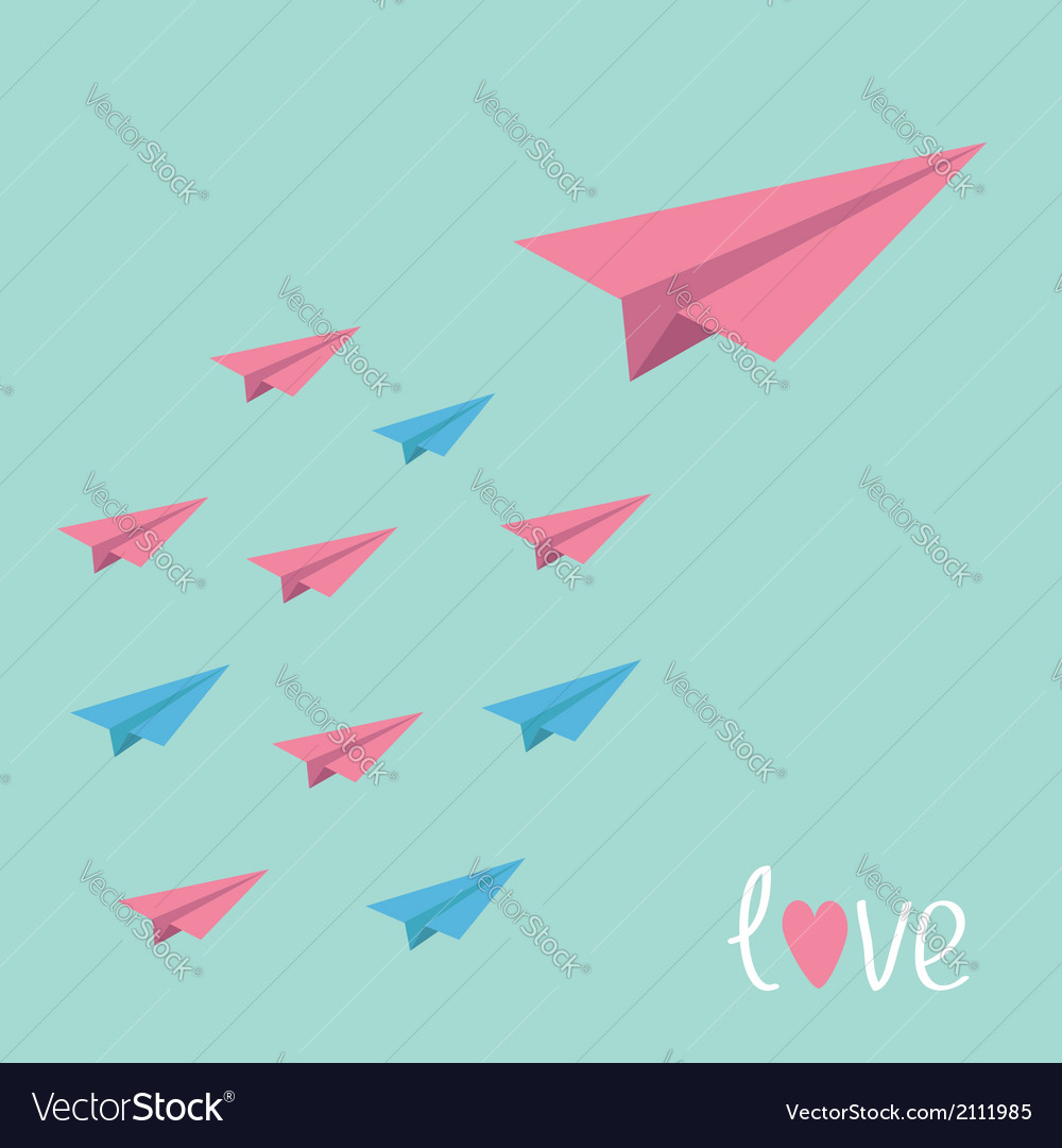 Big pink paper plane with small planes love card vector | Price: 1 Credit (USD $1)