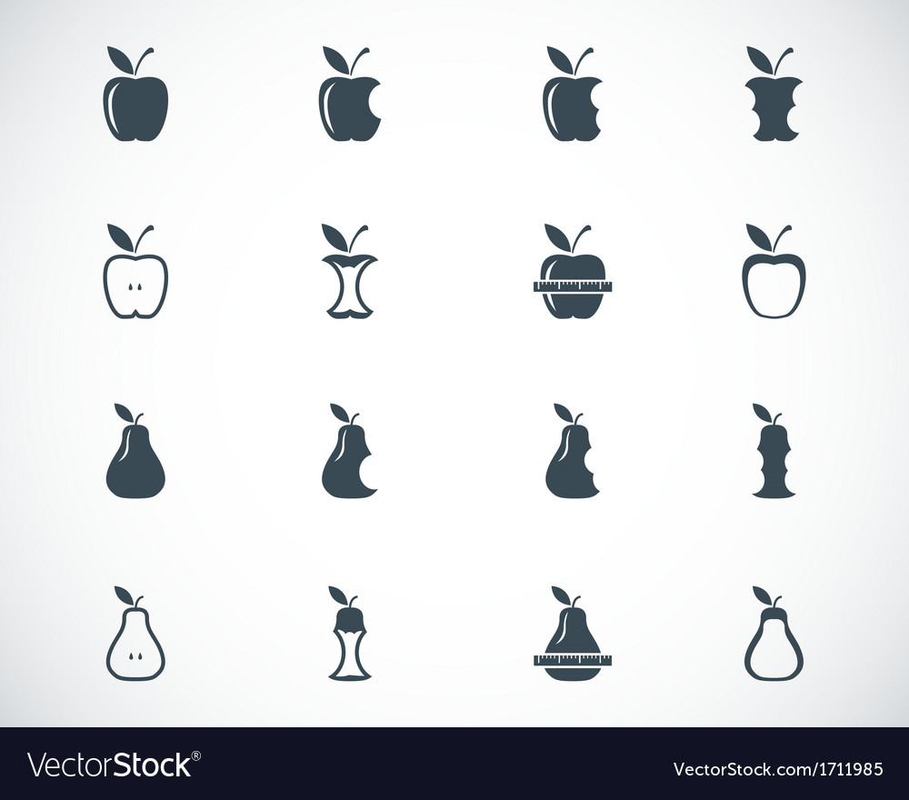 Black apple and pear icons set vector | Price: 1 Credit (USD $1)