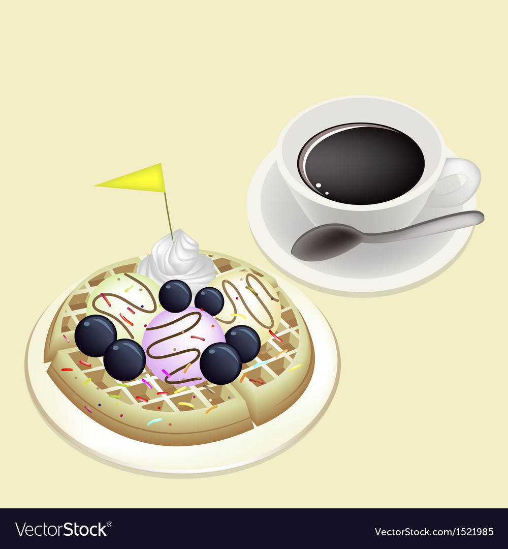 Hot coffee with waffle and ice cream vector | Price: 1 Credit (USD $1)