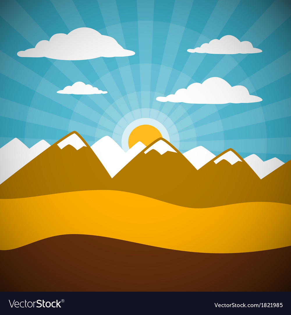 Nature retro mountains with clouds sun blue sky vector | Price: 1 Credit (USD $1)