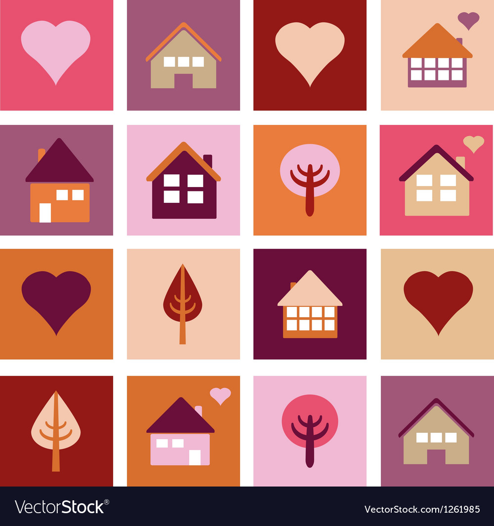 Set of different houses and trees vector | Price: 1 Credit (USD $1)