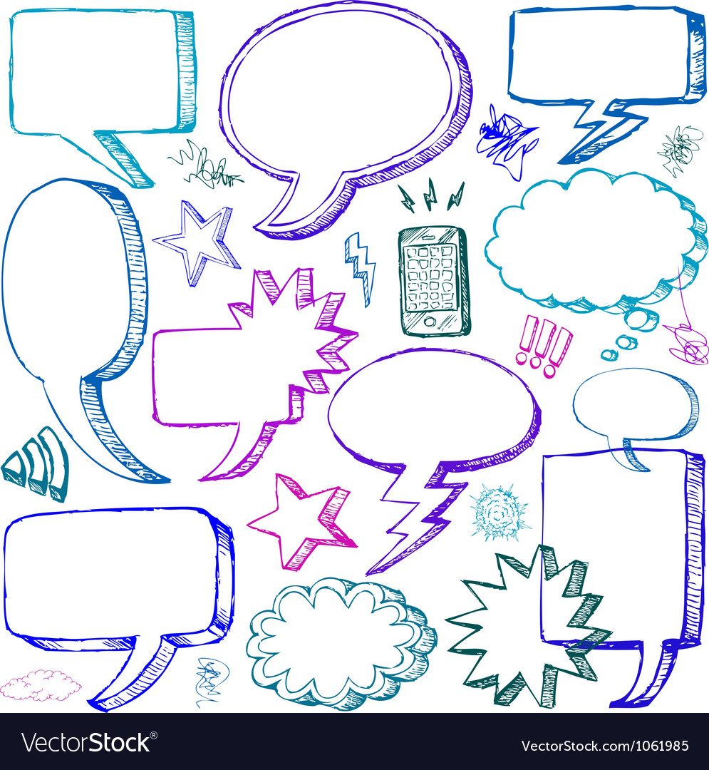 Set of hand drawn comical speech bubbles vector | Price: 1 Credit (USD $1)