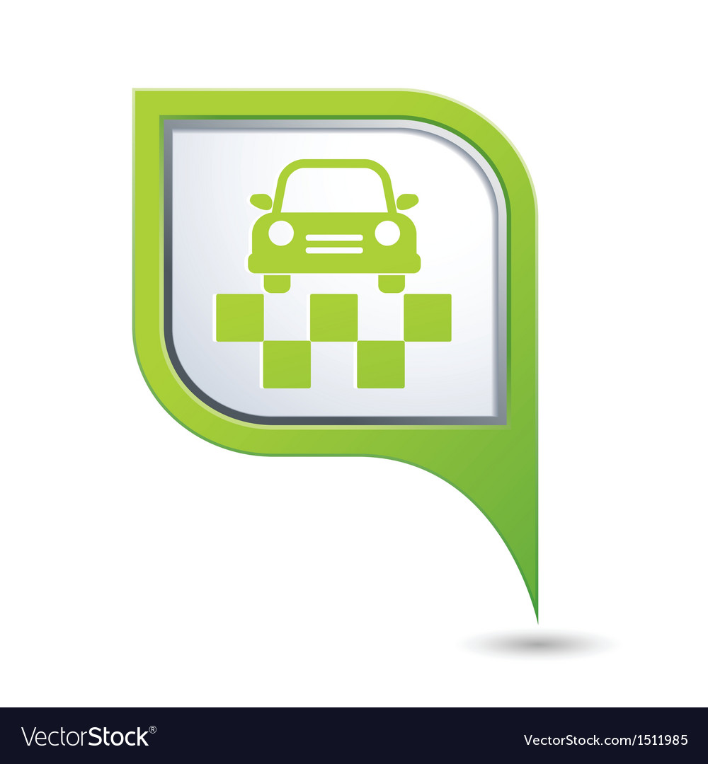 Taxi symbol on green map pointer vector | Price: 1 Credit (USD $1)