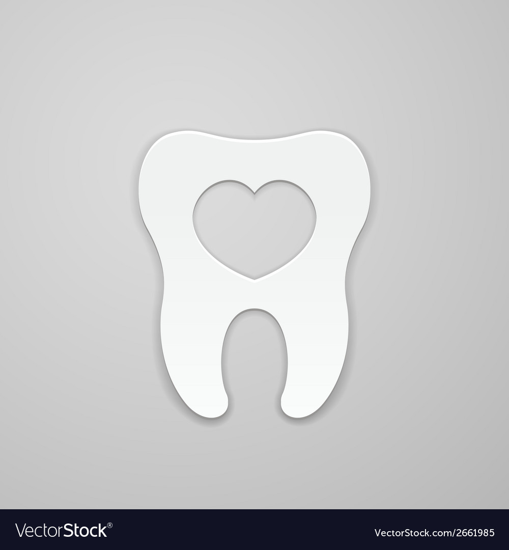 Tooth with heart vector | Price: 1 Credit (USD $1)