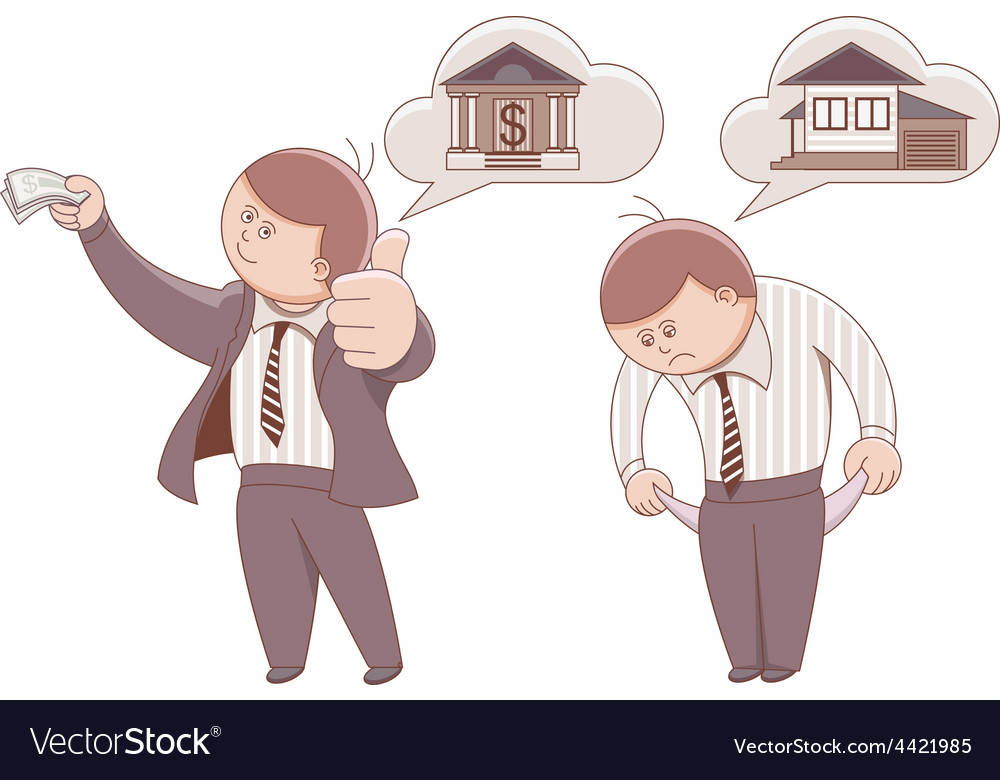 Two cartoon men mortgage to buy a home vector | Price: 1 Credit (USD $1)