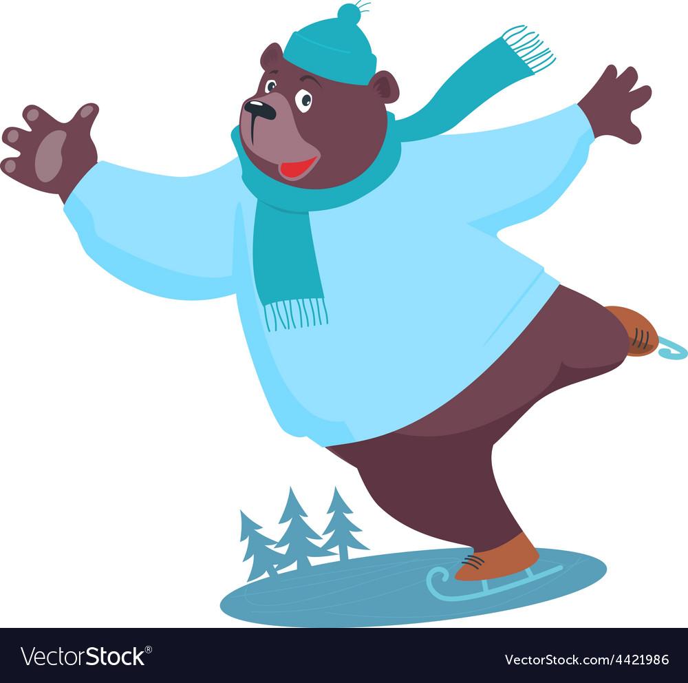 Cartoon bear ice skating vector | Price: 1 Credit (USD $1)