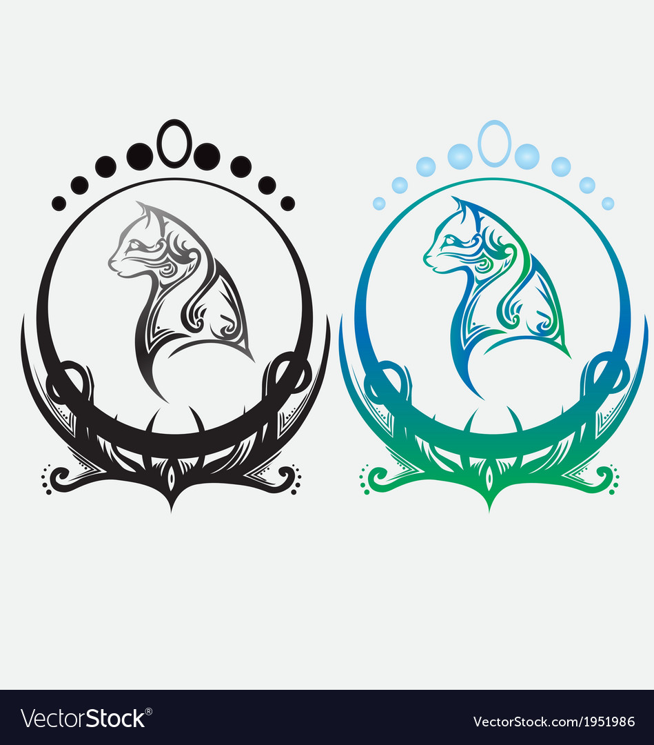 Cat decorative element for design or tattoo vector | Price: 1 Credit (USD $1)