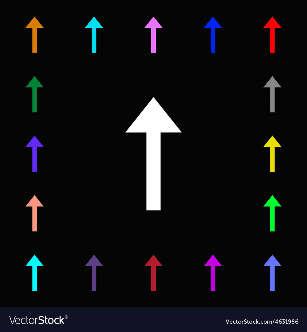 Direction arrow up icon sign lots of colorful vector | Price: 1 Credit (USD $1)