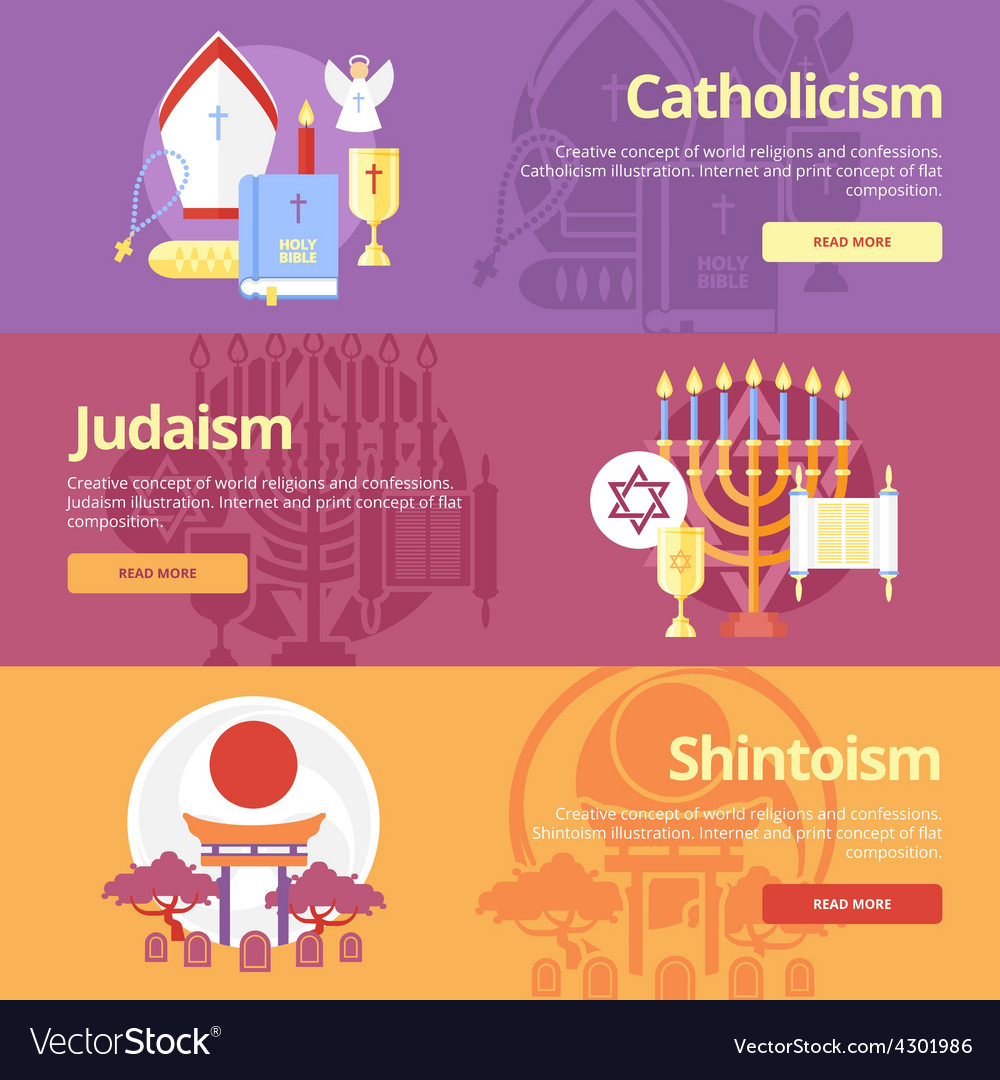 Flat religions concepts icons vector | Price: 1 Credit (USD $1)