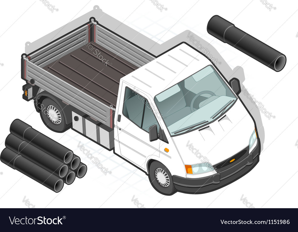 Isometric white van and some pipes vector   Price: 1 Credit (USD $1)